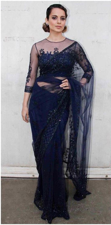 Kangana Ranaut In Midnight Blue Saree Paired With Sheer Yoke Blouse