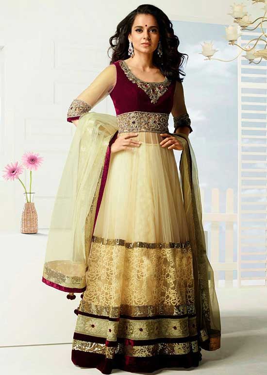 Kangna Ranaut Anarkali In Buttercream & Red