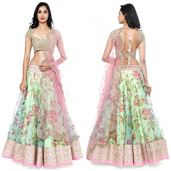 Kashmeera Green Lehenga With Pink Lace And Net Choli