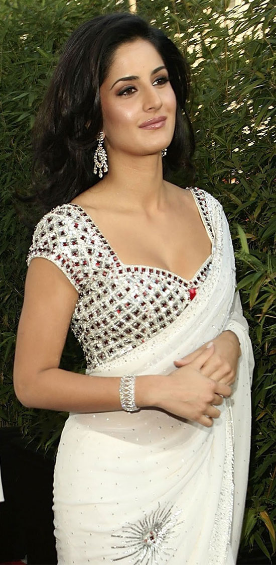 Katrina kaif In white transparent Saree