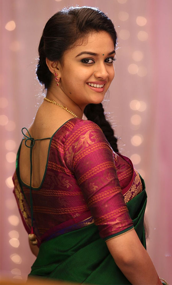 Keerthi-Suresh-In-Green-Saree
