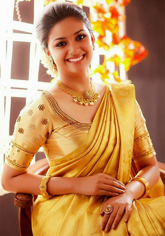 Keerthi-Suresh-In-Yellow-Saree