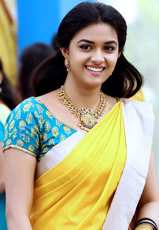 Keerthy-Suresh-in-Yellow Net Saree