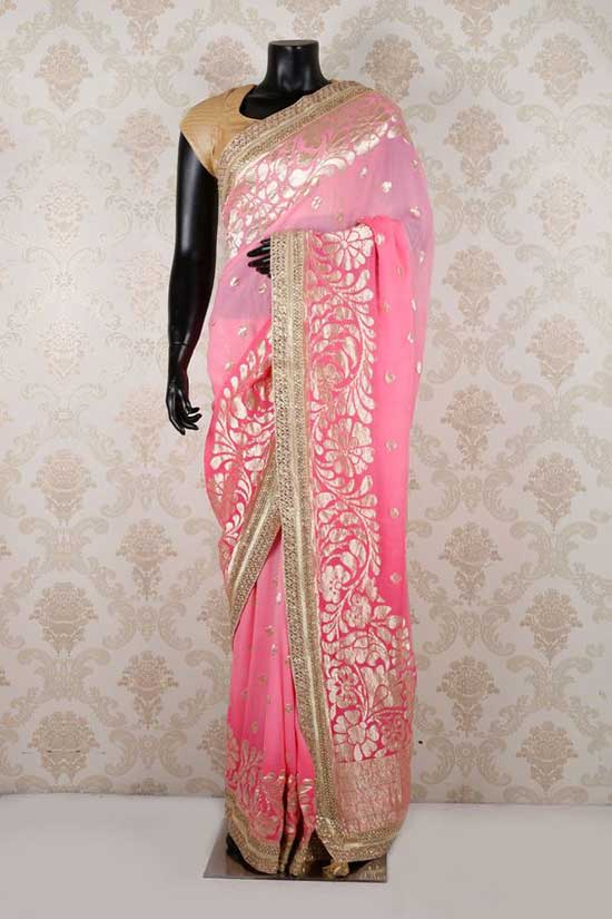 Light pink & baby pink pure banarasi georgette angelic saree with light gold border