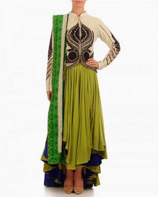 Lime Green Tail Cut Anarkali Along With Cream Jacket