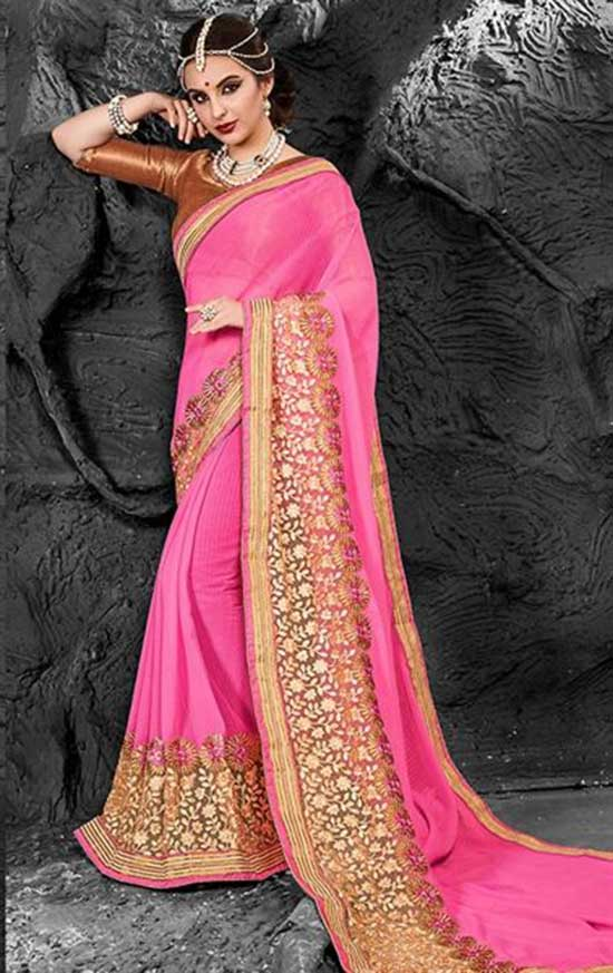 Lovable Pink Chiffon Saree With Plane Gold Boat Neck Quarter Sleeves