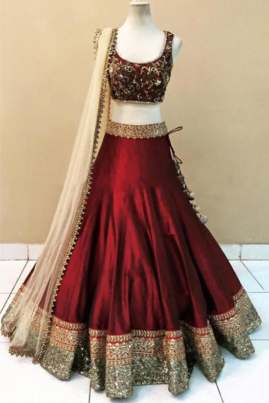 Maroon Tapeta Designer Lehenga With Net Choli
