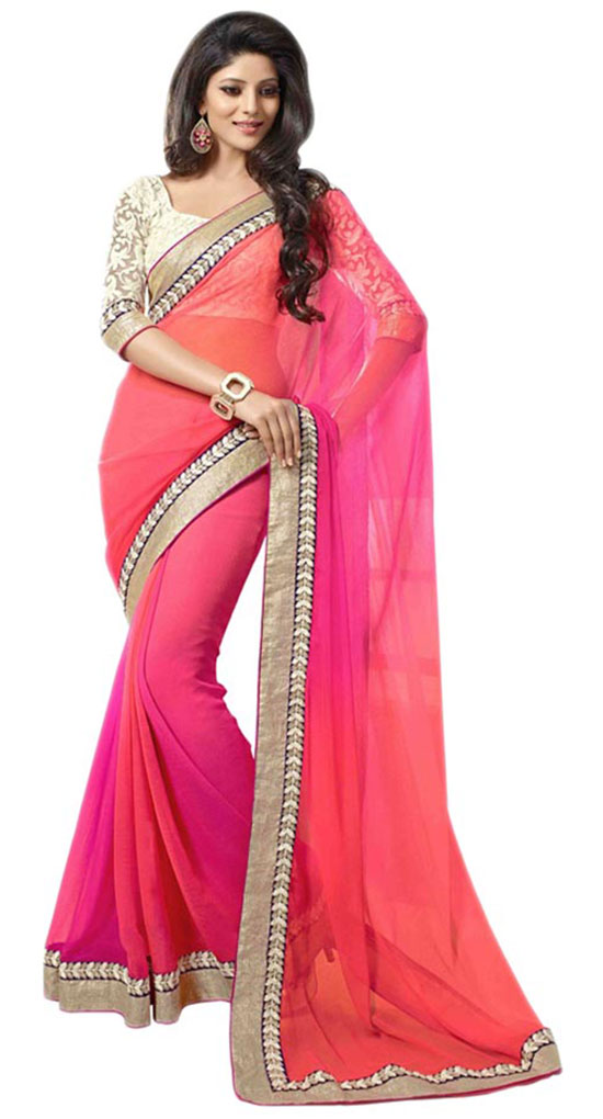 Multi Faux Georgette Border Work Saree With Rectangle Neckline Blouse
