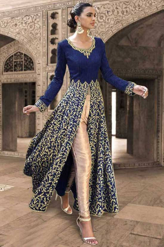 Navy Blue Sequins And Stone Work Bhagalpuri Silk Festival Anarkali Salwar Suit