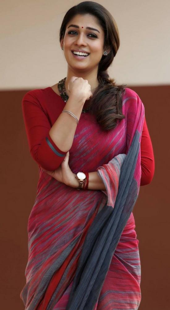 Nayantara In Beige And Red Color Saree