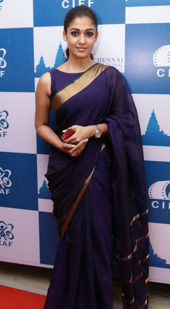 Nayantara In Blue Banarasi Saree And Plain Boat Neck Blouse