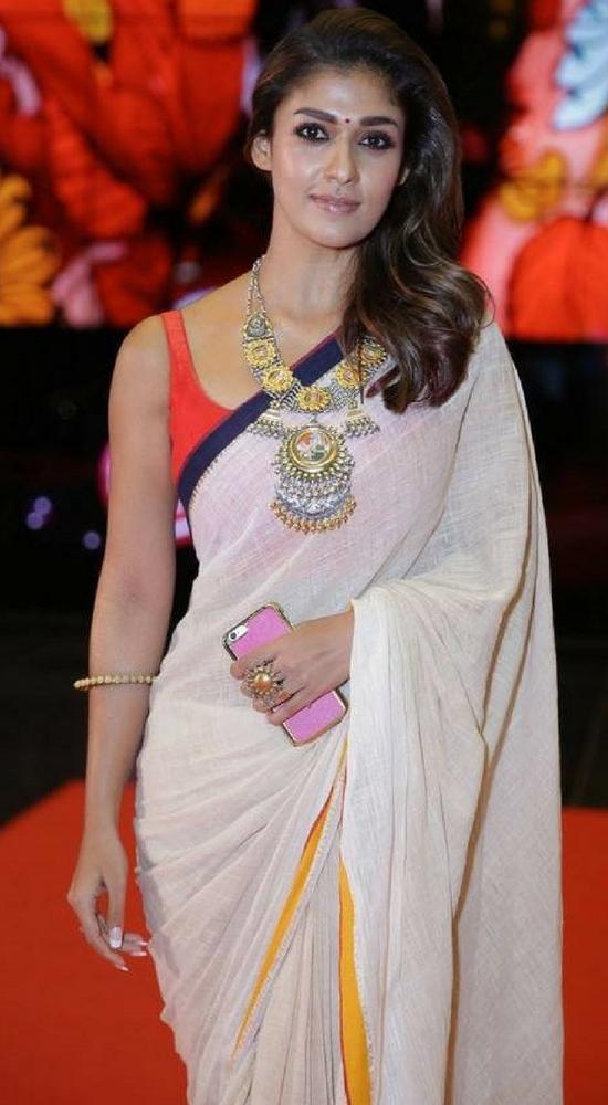 Nayantara In Cream Cotton Saree With Sleeveless Blouse