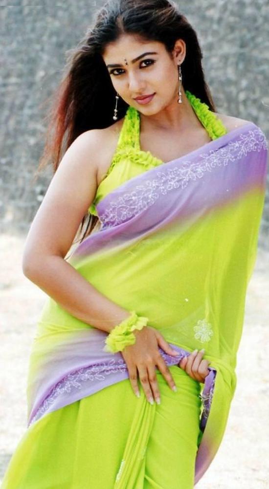 Nayantara In Green And Blue Thread Embroidery Saree