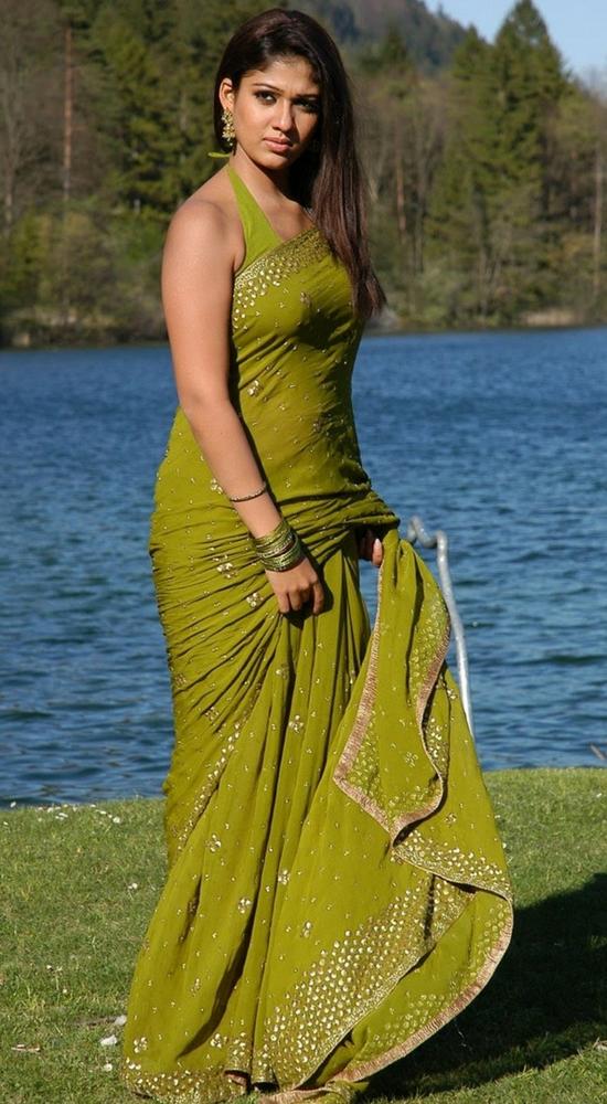 Nayantara In Green Sequins Saree