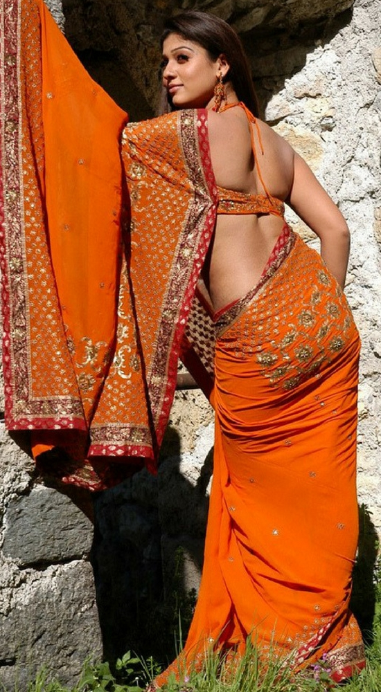 Nayantara In Orange Heavy Embroidery And Patch Work Saree - Back