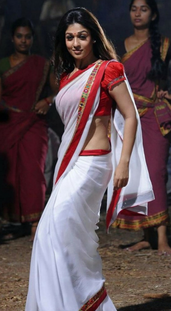 Nayantara In White Saree Red Border With Puff Sleeve Blouse