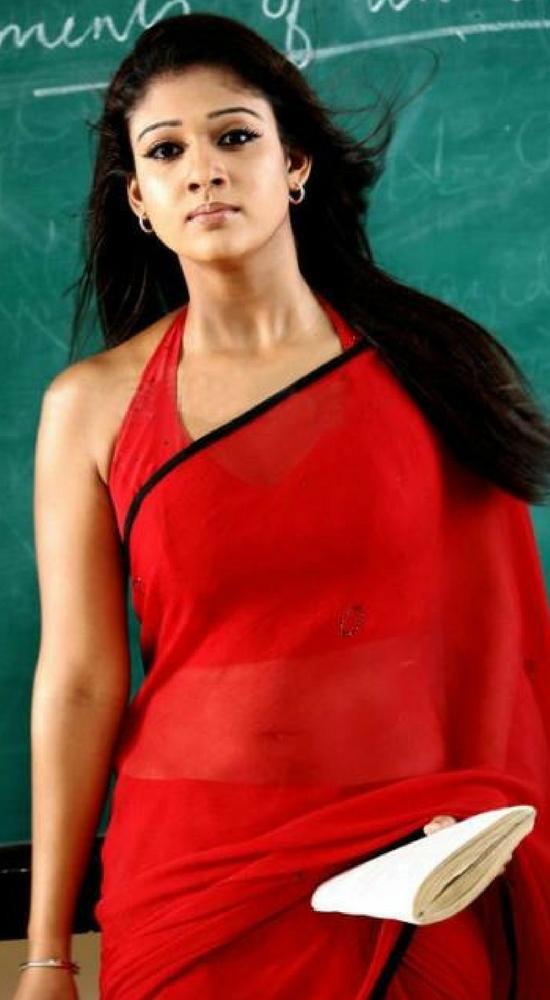 Nayantara Red Saree With Halter Neck Blouse
