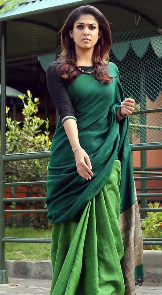 Nayanthara Wearing Woven Saree in Shades of Green With Elbow Sleeve Blouse