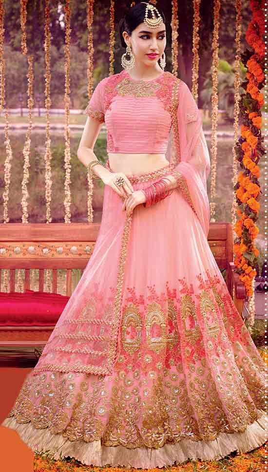Net Semi Stitched Lehenga Choli In Baby Pink Colour