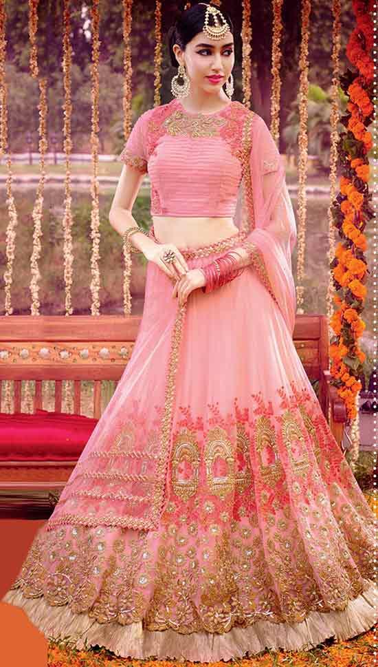 Net Semi Stitched Lehenga Choli In Baby Pink Colour