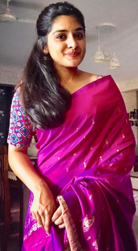 Niveda Thomas In Purple Pattu Saree