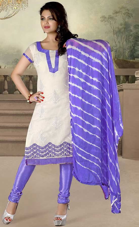 OFF WHITE & BLUE COTTON CHURIDAR SUIT