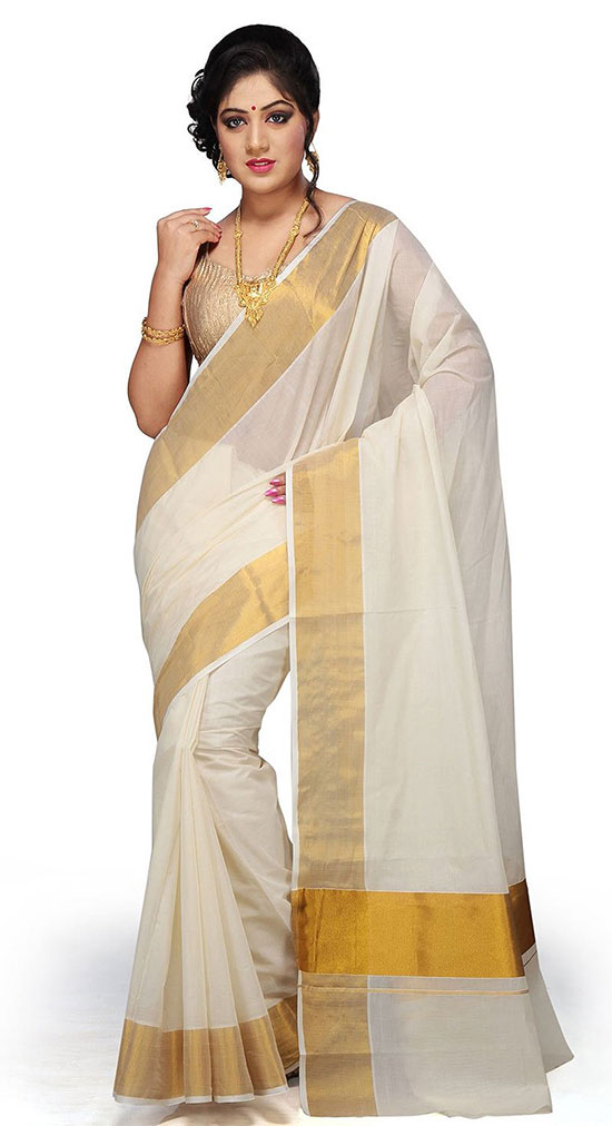 Pure Cotton Kerala Kasavu Saree