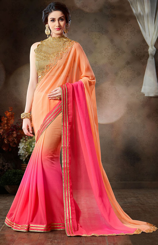 Orange And Pink Pure Pure Chiffon Saree With High Neck Blouse
