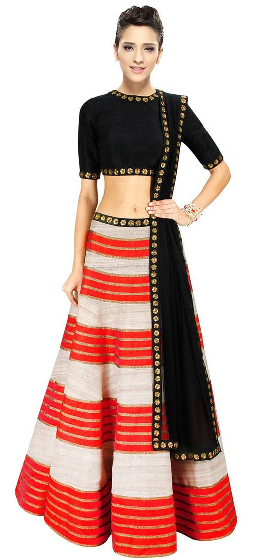 Orange and black lehenga With Elegant Embellishment