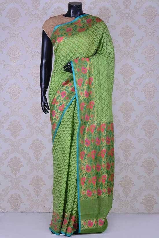 Pastel green glamorous banarasi bamboo net saree