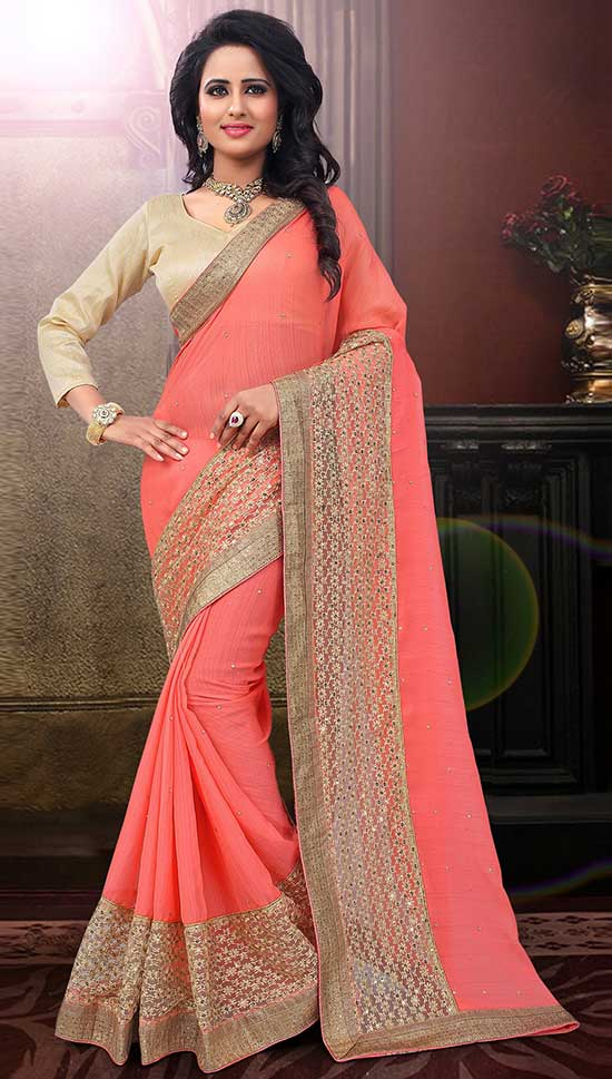 Peach Chiffon Heavy Net Border and Stone work Saree With Plane Full Sleeve Blouse