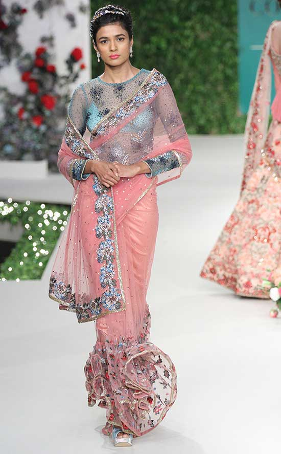 Peach Pink Net Saree With Sheer Net York Blouse