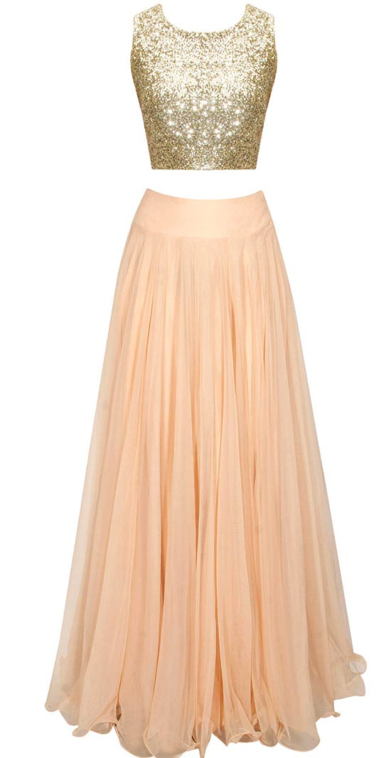 Peach sheer embroidered cape lehenga set with sequins crop top