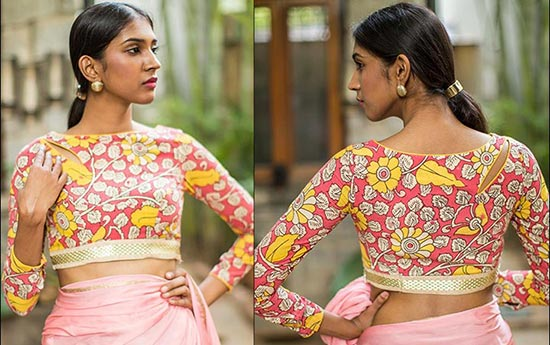 Pink And Mustard Kalamkari Work Boat Neck Blouse Design