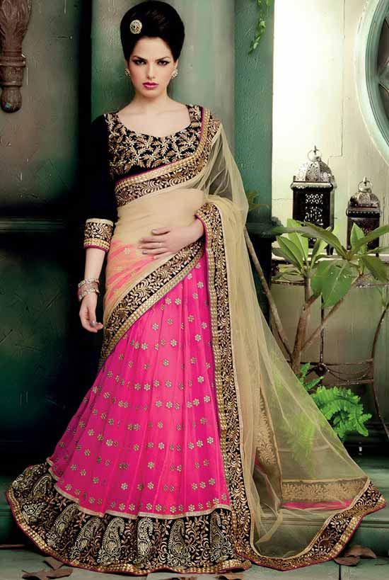 Pink & Beige Zari buttis With resham embroidery Lehenga