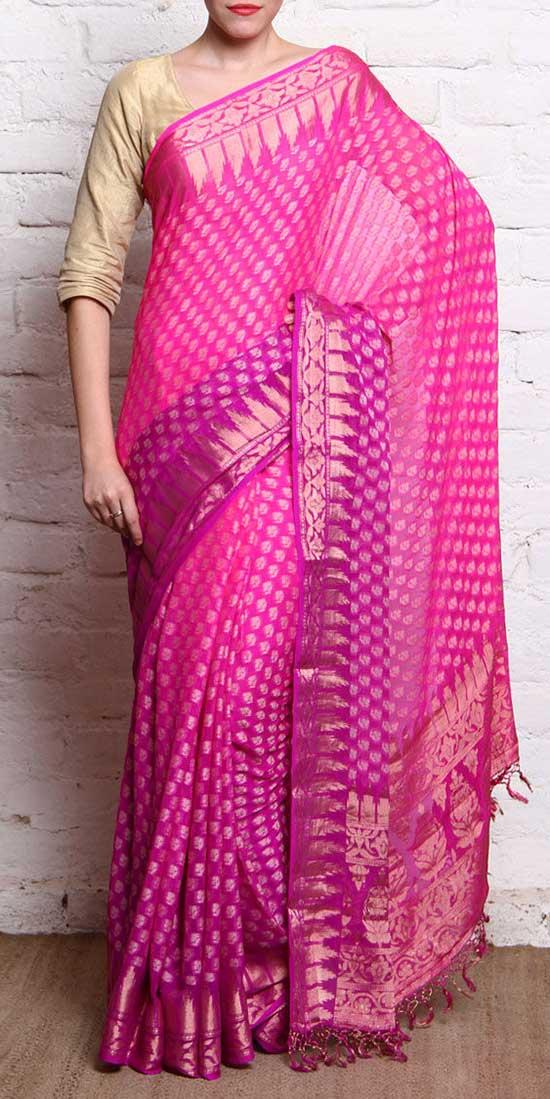 Pink & Golden Handloom Banarasi Silk Saree With Temple Border