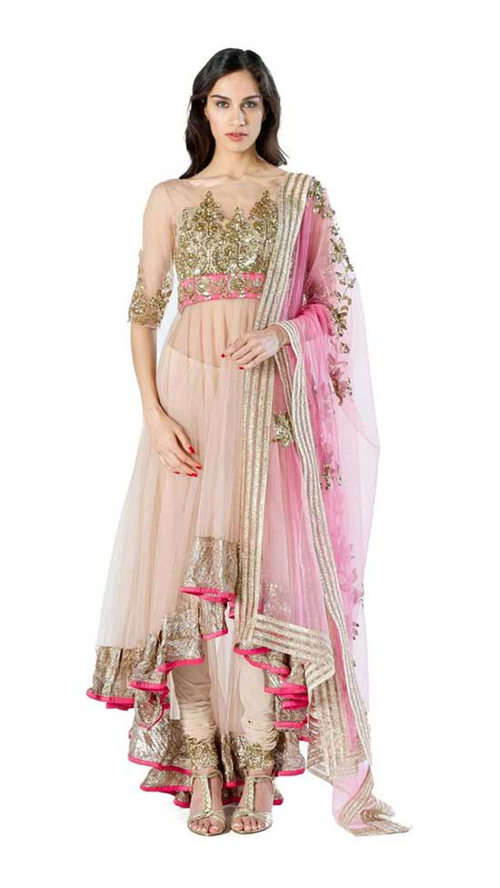 Pink Neted Tail Cut Anarkali Suite