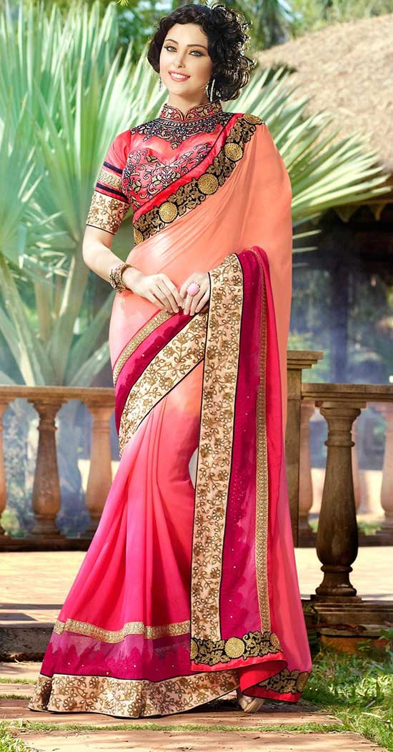 Pink-&-Orange-halh-half-georgette-saree-with-chinese-collar-blouse