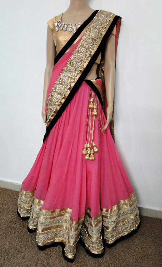 Pink and Gold Embroidery Half Saree With Black Border Neck Design