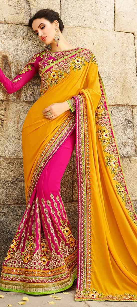 Pink and Majenta, Yellow color Chiffon Saree With Designer Full Sleeves Blouse