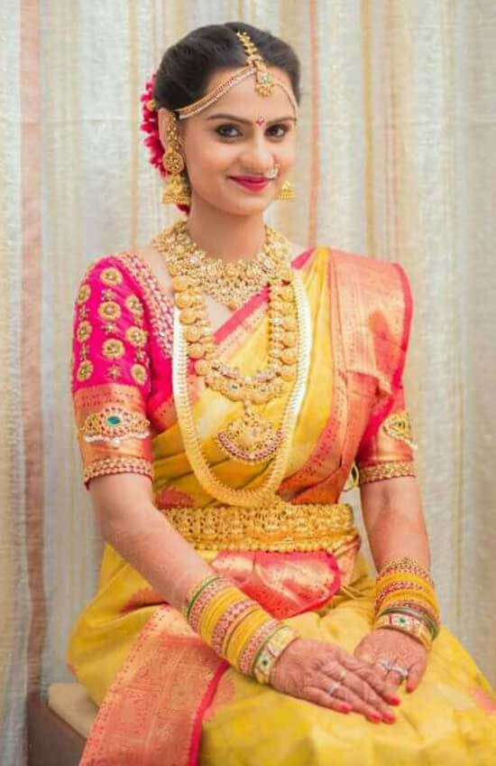 pink and yellow kanchipuram saree