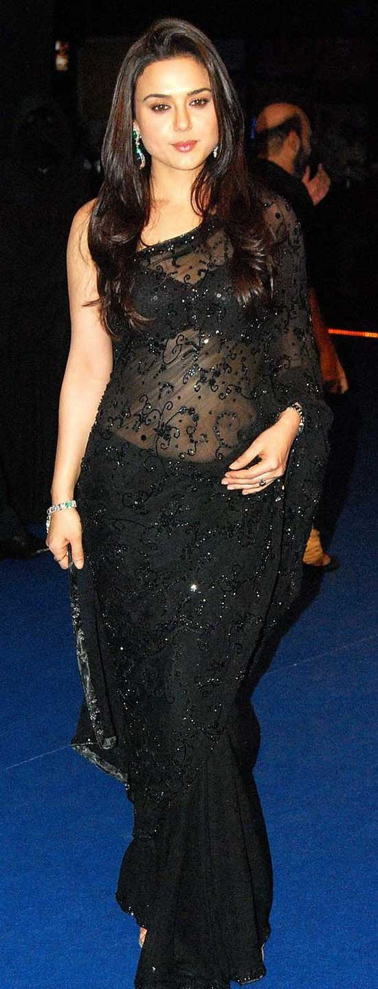 Preity Zinta in black georgette saree with black sequin embroidary