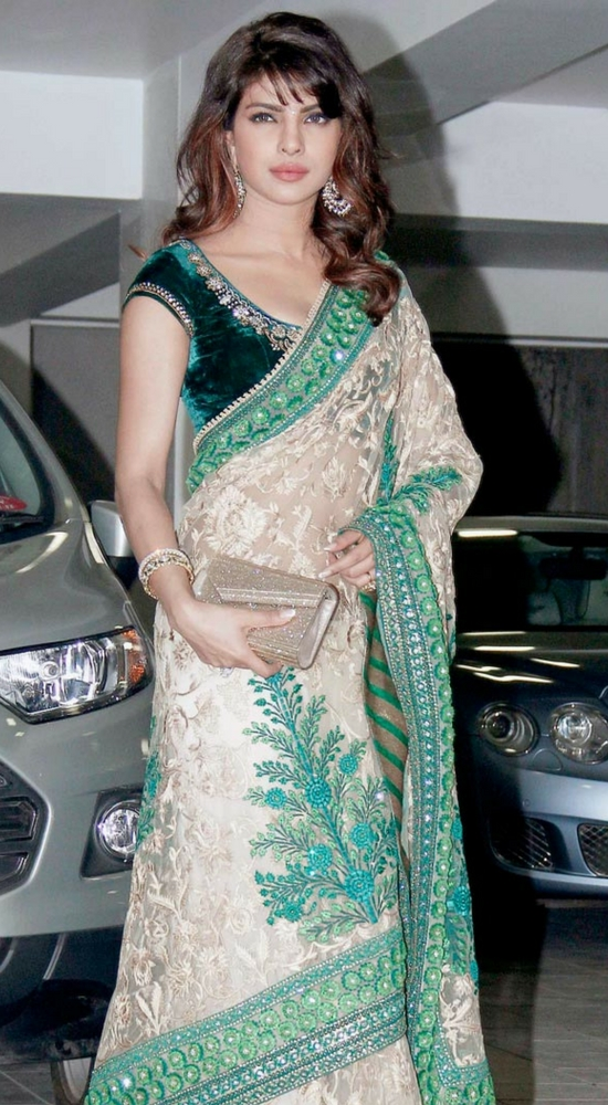 Priyanka Chopra Heavywork Design Saree Paired With Velvet Blouse