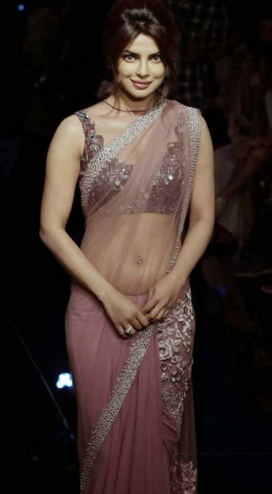 Priyanka Chopra In Peach Transparent Net Saree