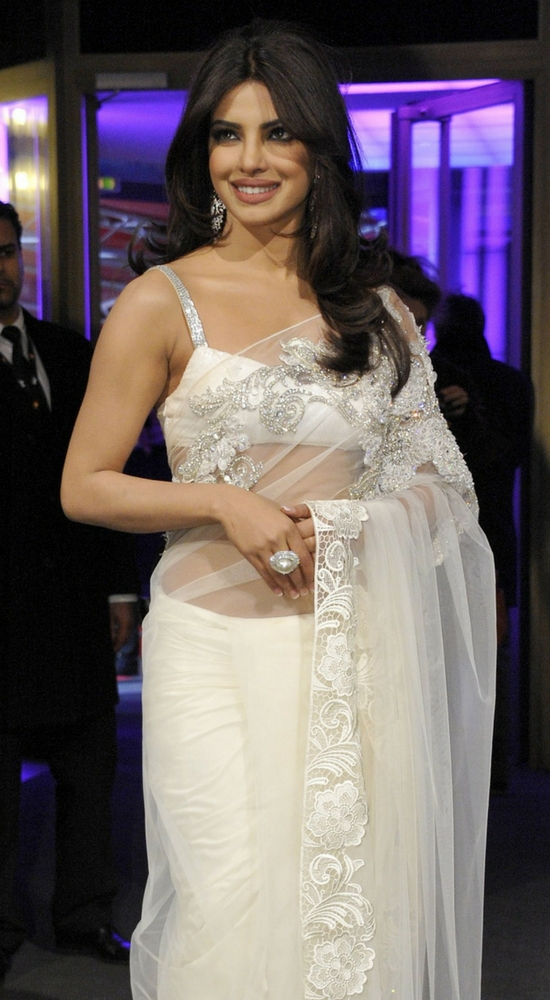 Priyanka Chopra In White Net stone Work Saree