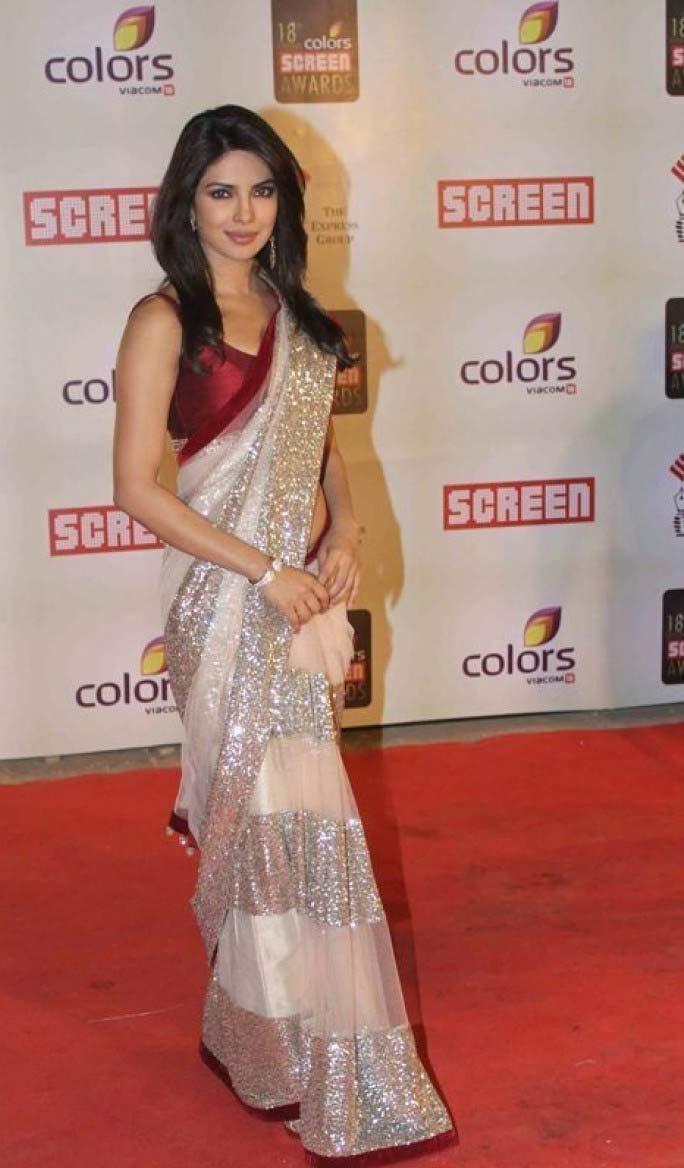 Priyanka chopra Red and Silver Net Saree