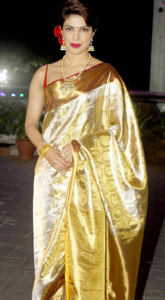 Priynka Chopra in Gold Pattu Silk Saree