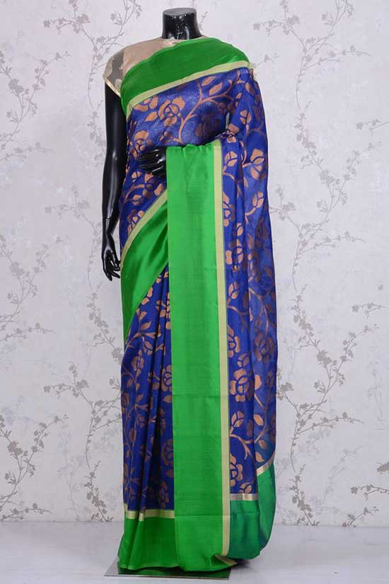 Pure Banarasi Silk-Navy Blue & Gold