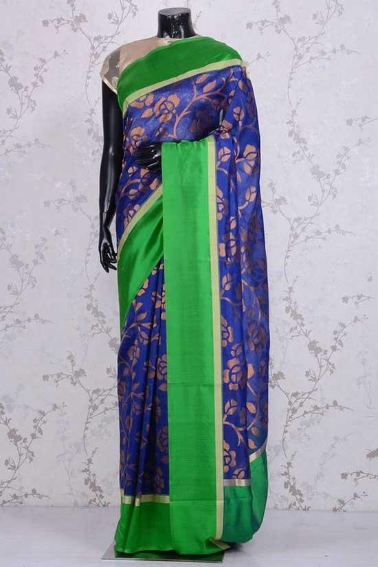 Pure Banarasi Silk-Navy Blue & Gold