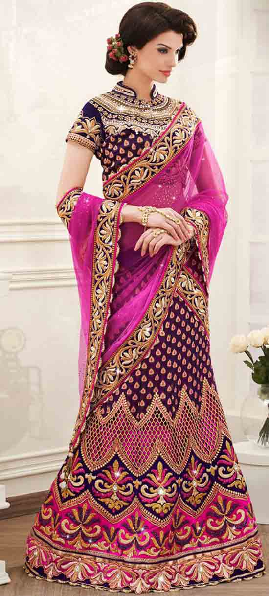 Purple & Pink Velvet Designer Lehenga Saree With Zari Work